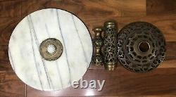 Vintage Accent Table Round White Marble withBlack Veining Top on a Brass Pedestal