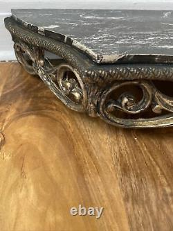 Vintage Antique Wall Mounted Shelve Wall Console Table Black Marble Effect Top