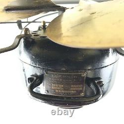 Vintage Emerson 6 Blade Table Top Fan Brass Blades Black 17 Inch Cage 3 Speed