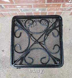 Vintage Patio Table Plant Stand Black Wrought Iron Mesh Top 9x20