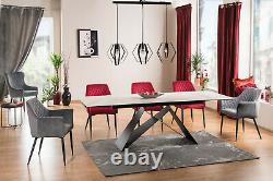 WESTIN Black or Grey or Marble Top & Black Metal Legs Extendable Dining Table